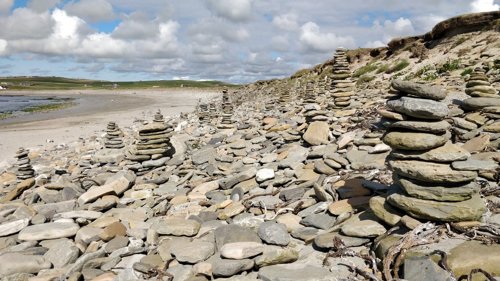 Rock stacks at Skaill beach