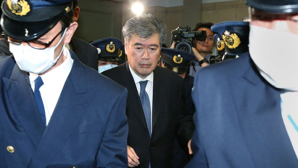 In this picture taken on April 16, 2018 Japan's Administrative Vice Finance Minister Junichi Fukuda leaves the finance ministry in Tokyo
