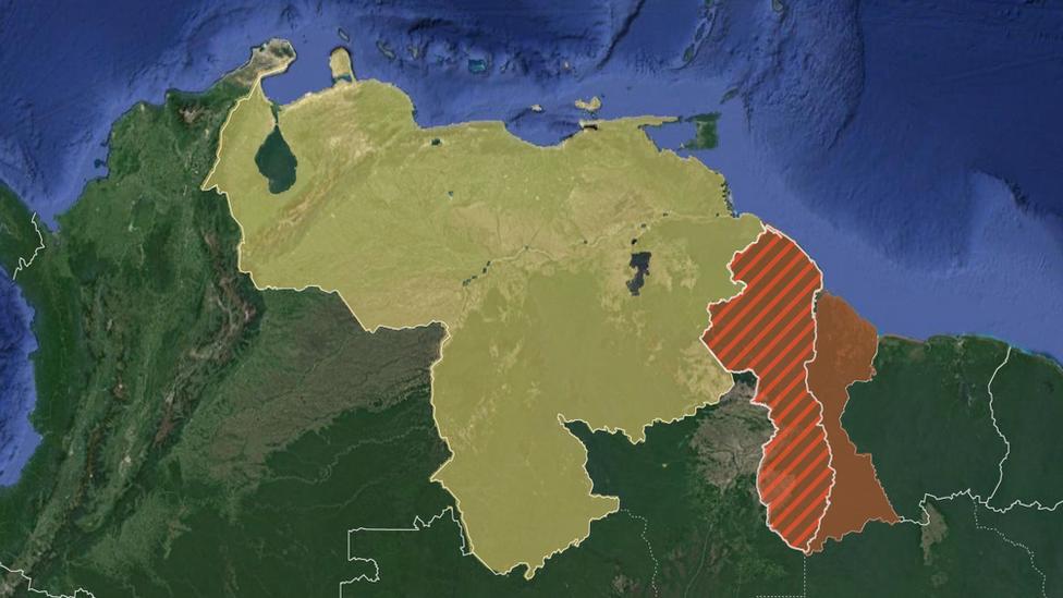 Mapa de Venezuela, Guyana y la zona en reclamación.