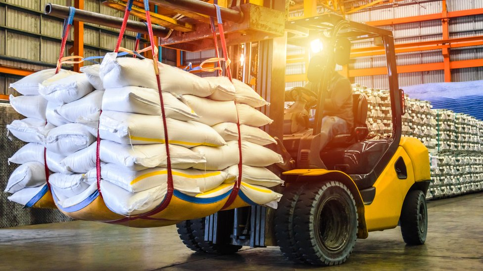 Forklift truck with bags of sugar