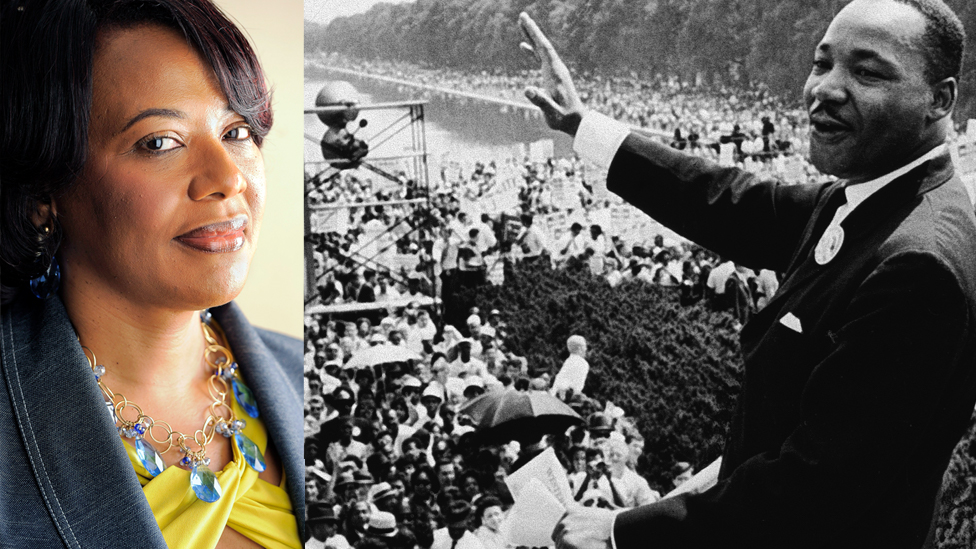 Bernice King y Martin Luther King en una foto compuesta