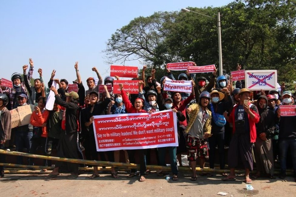 Demonstrators gesture during a protest against the military coup in Naypyitaw, Myanmar, 09 February 2021.