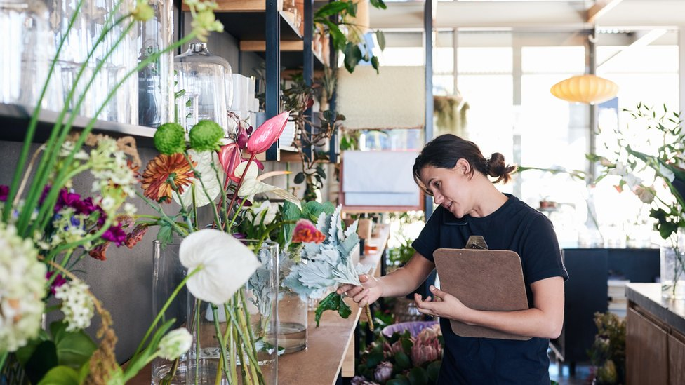 Woman in florists shop