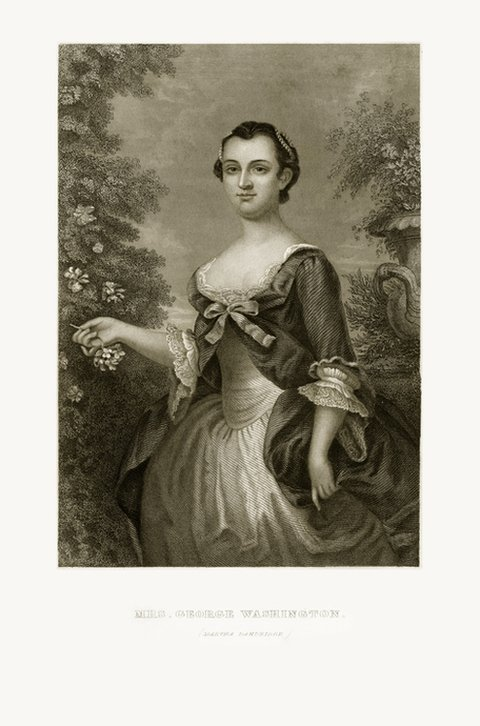Retrato ilustrado de Martha Washington. 1780.