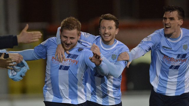 David Cushley is congratulated by Ballymena team-mates after scoring the opening goal