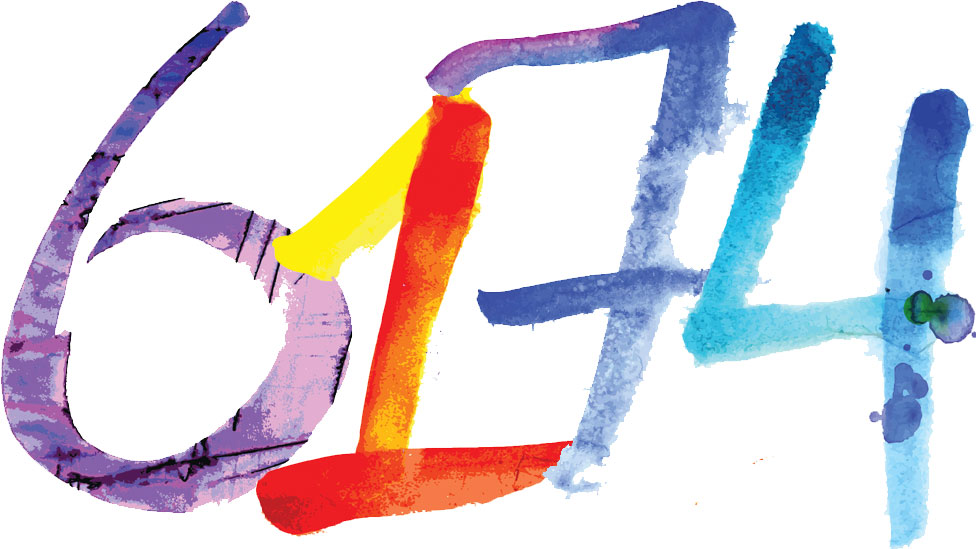 The number 6174, written down in multi-tone watercolours