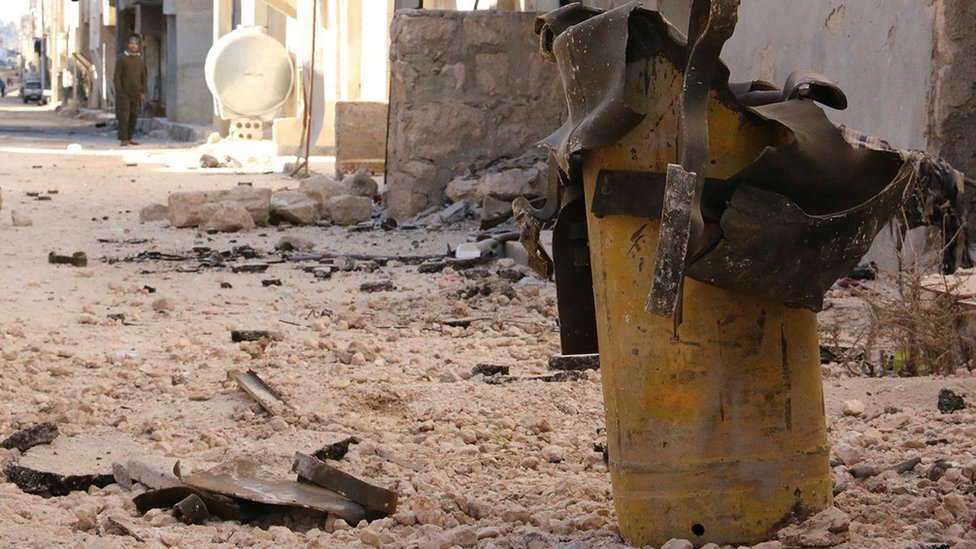 Handout photo provided to Reuters on 13 February 2017, by Human Rights Watch claiming to show remnant of a yellow gas cylinder found in Masaken Hanano, Aleppo, after a chlorine attack on November 18, 2016
