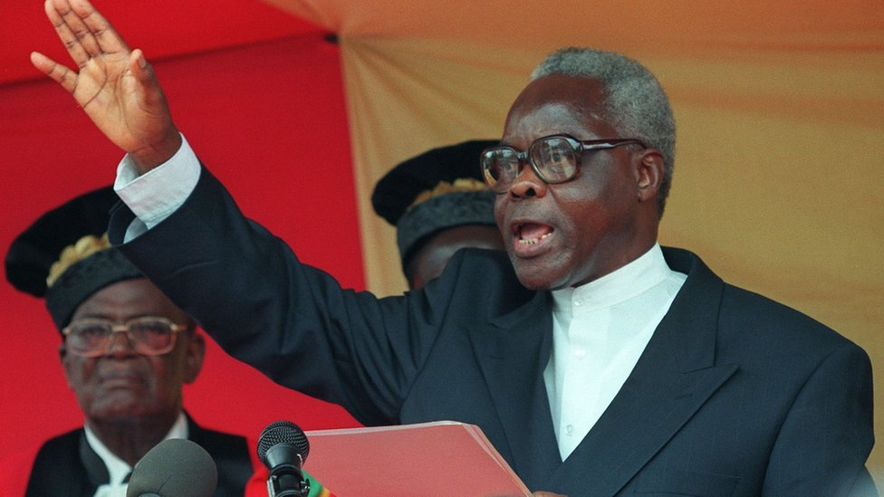 Mathieu Kerekou shown in a file photo dated 04 April 1996 taking oath of office as Benin's president at the constitutional court in the administrative capital of Porto Novo.