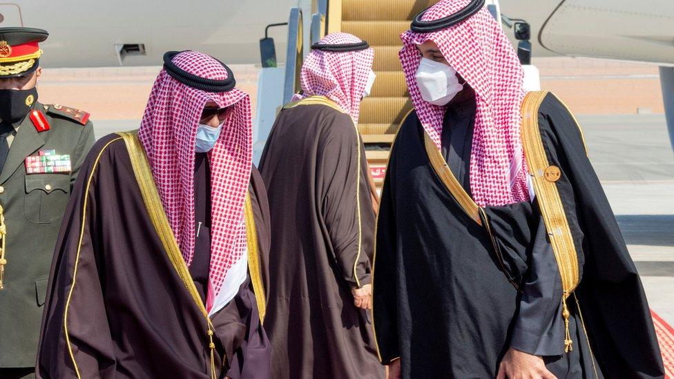 ولي العهد السعودي، محمد بن سلمان، يستقبل أمير الكويت، نواف الأحمد الصباح