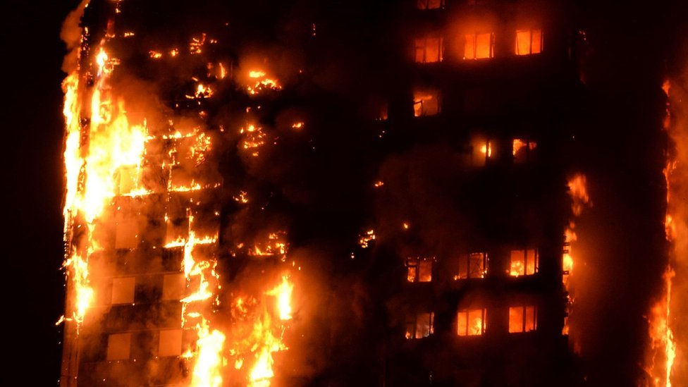 Flames engulfing Grenfell Tower