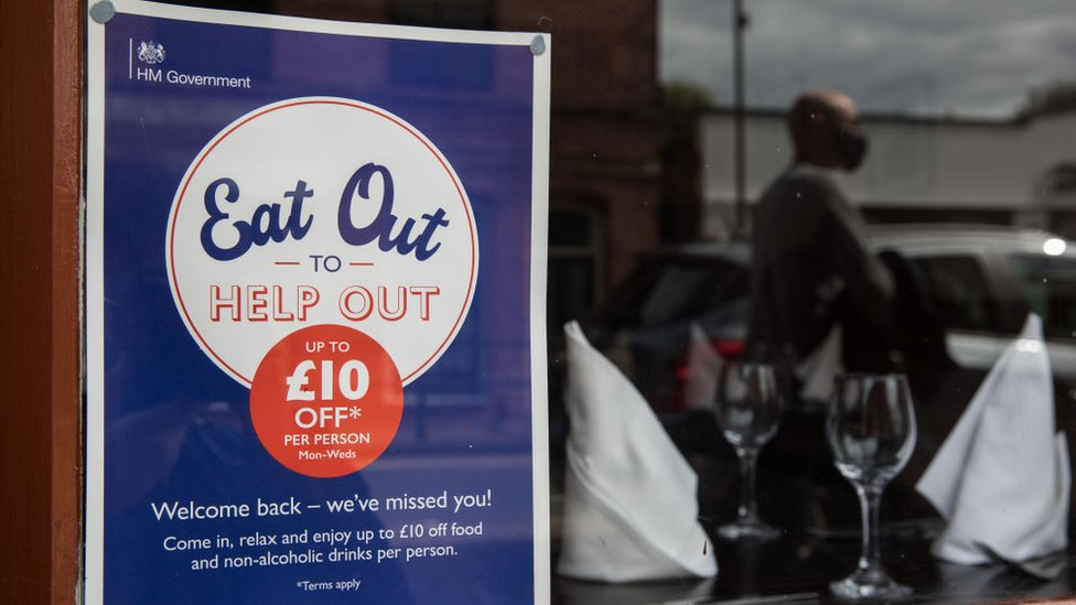 An Eat Out to Help Out scheme sign at a restaurant in Windsor