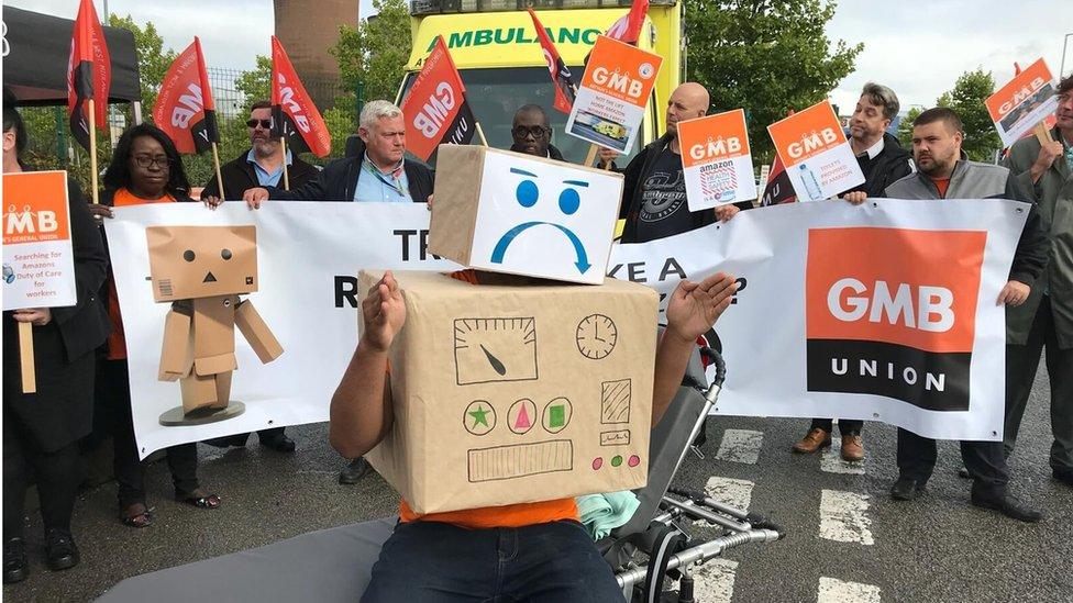 Protest outside Rugeley depot