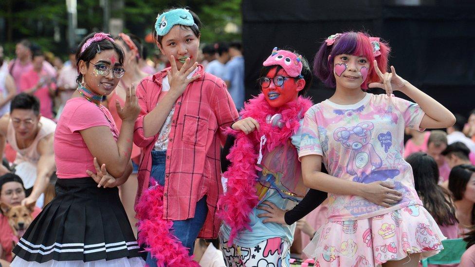 新加坡芳林公園「粉紅點」LGBT集會上的參加者(1/7/2017)