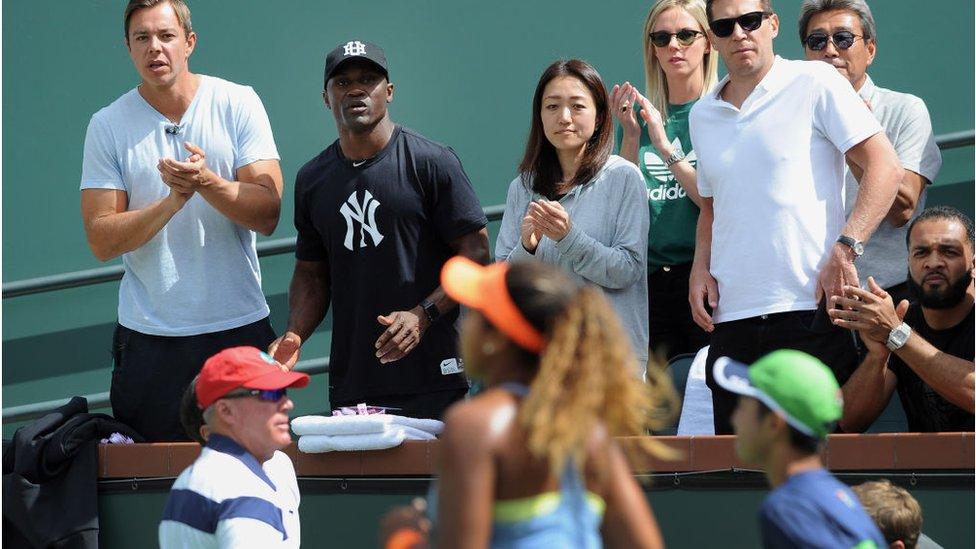 Los padres de Naomi durante un partido en Roland Garros.