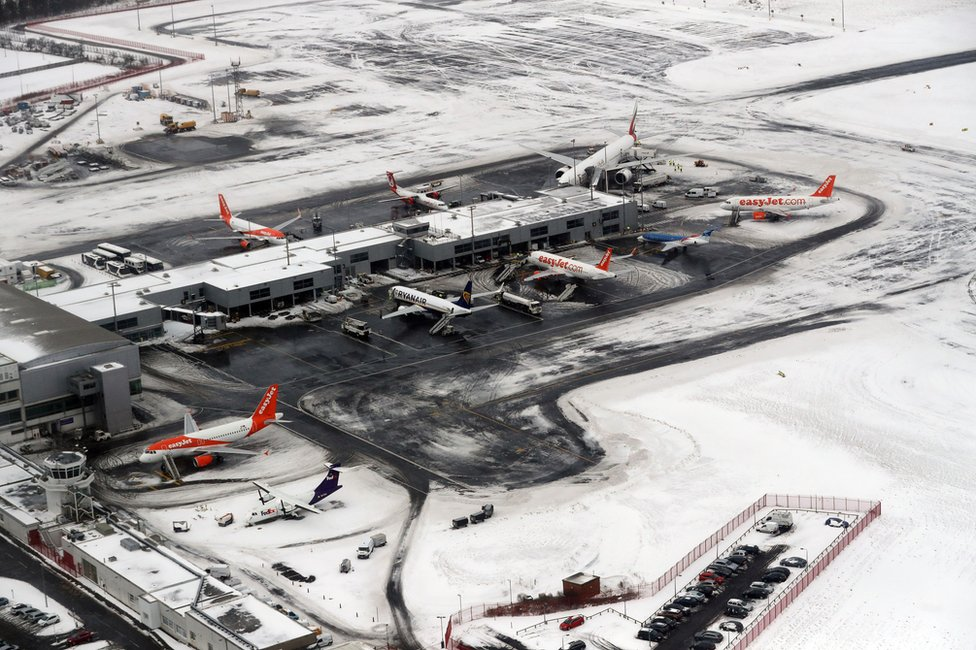 Aerial view of a snow covered Newcastle Airport