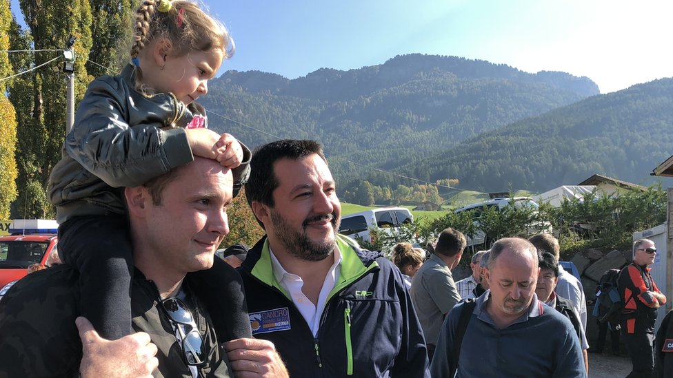 Italy's Interior Minister Matteo Salvini (C) in South Tyrol