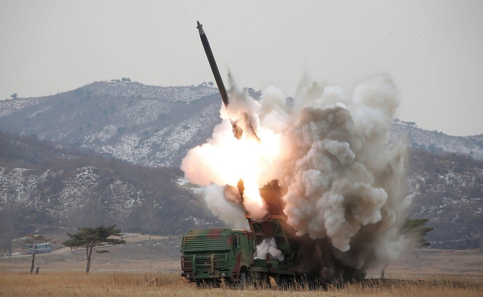 Picture released by North Korea's official Korean Central News Agency on 4 March 2016 showing a test-fire of a new large-calibre missile at an undisclosed location