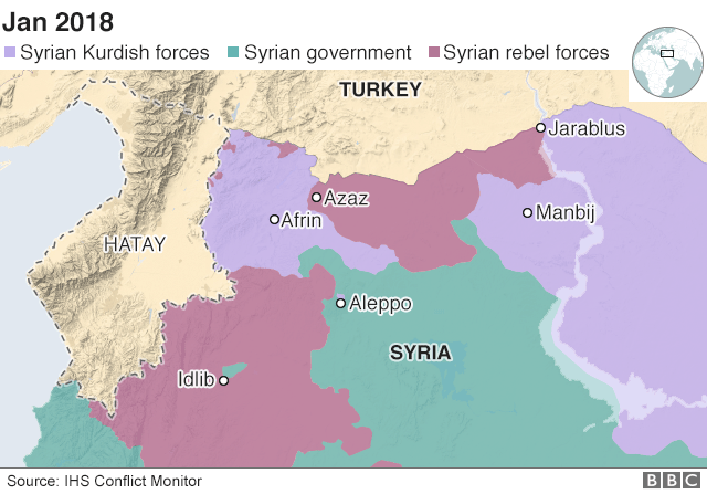 Map of northern Syria and southern Turkey showing the region of Hatay (22 January 2018)