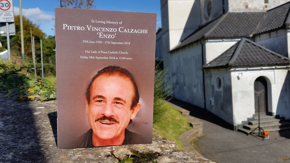 The front cover of the order of service for the funeral of Enzo Calzaghe at Our Lady of Peace Parish Church in Newbridge