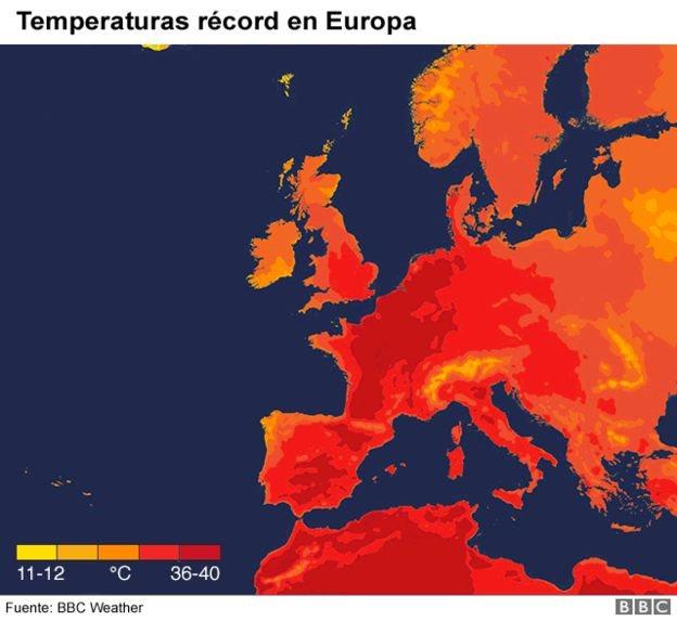 Temperaturas en Europa en julio
