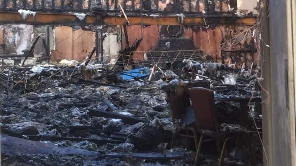 Damage inside the Plaza ballroom in Buncrana
