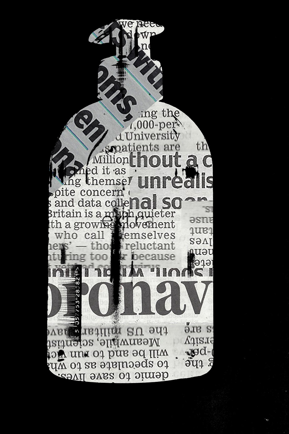 A collage newspaper cuttings in the shape of a bottle of hand soap