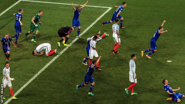 Iceland celebrate their victory over England at Euro 2016