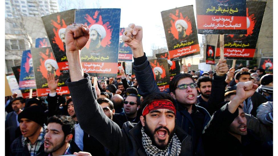 متظاهرون إيرانيون ينددون بإعدام الشيخ نمر النمر