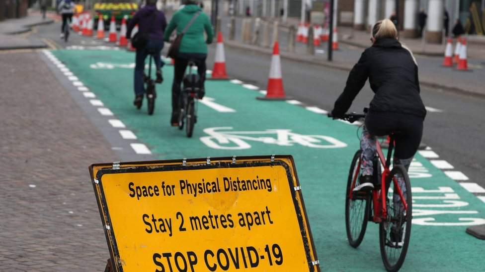 Cyclists in Glasgow