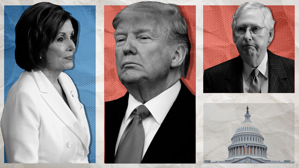 Nancy Pelosi, Donald Trump y Mitch McConnell