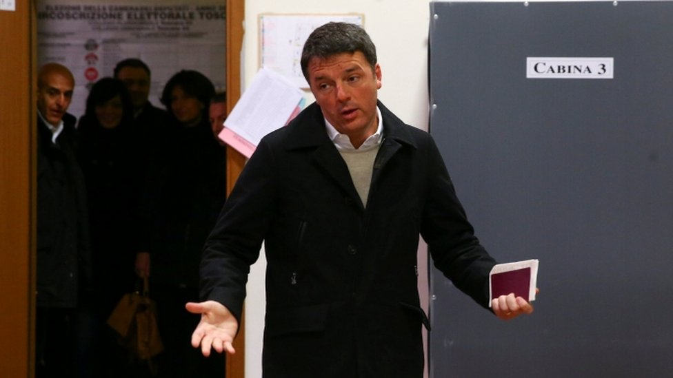 Democratic Party leader Matteo Renzi cast his vote in Florence