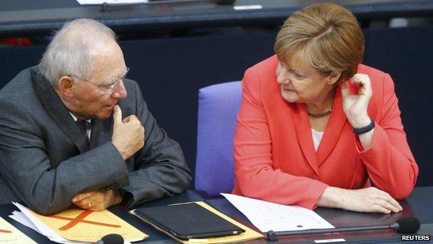 German Finance Minister Wolfgang Schaeuble with Angela Merkel