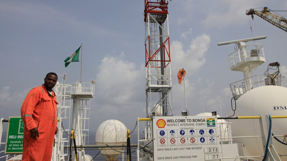 File photo of Shell staff in the Niger Delta