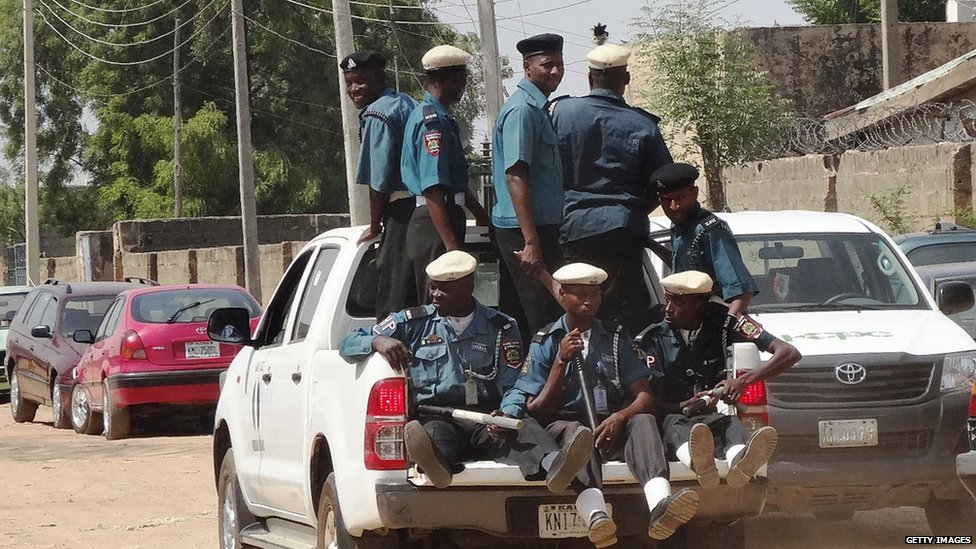 A team of Islamic Sharia enforcers called Hisbah is on patrol in the northern Nigerian city of Kano in an open pickup. File photo