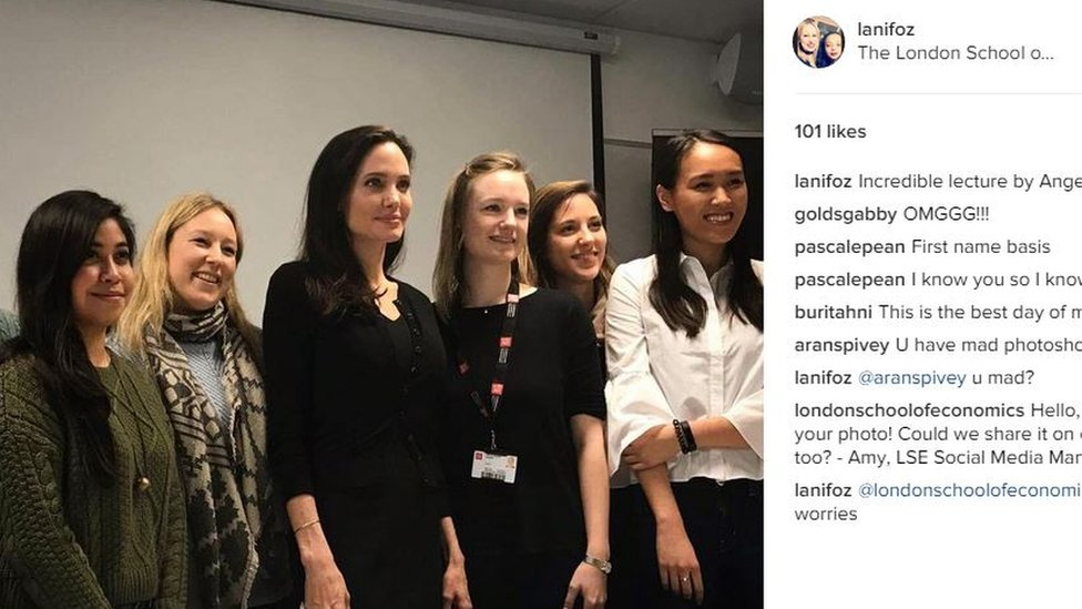 Angelina Jolie with students