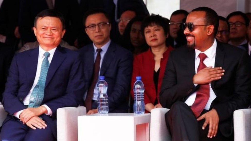 Jack Ma dan PM Ethiophia Abiy Ahmed tahun lalu.