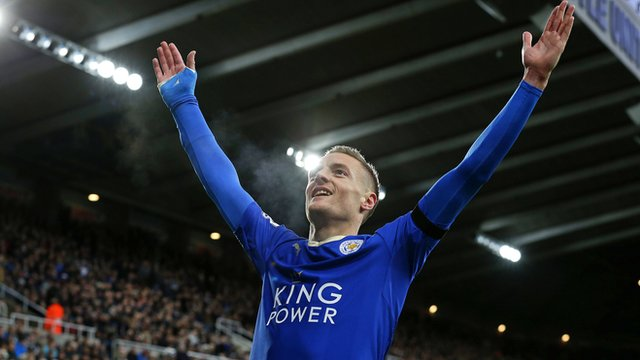 Jamie Vardy nets Leicester's first goal to equal record