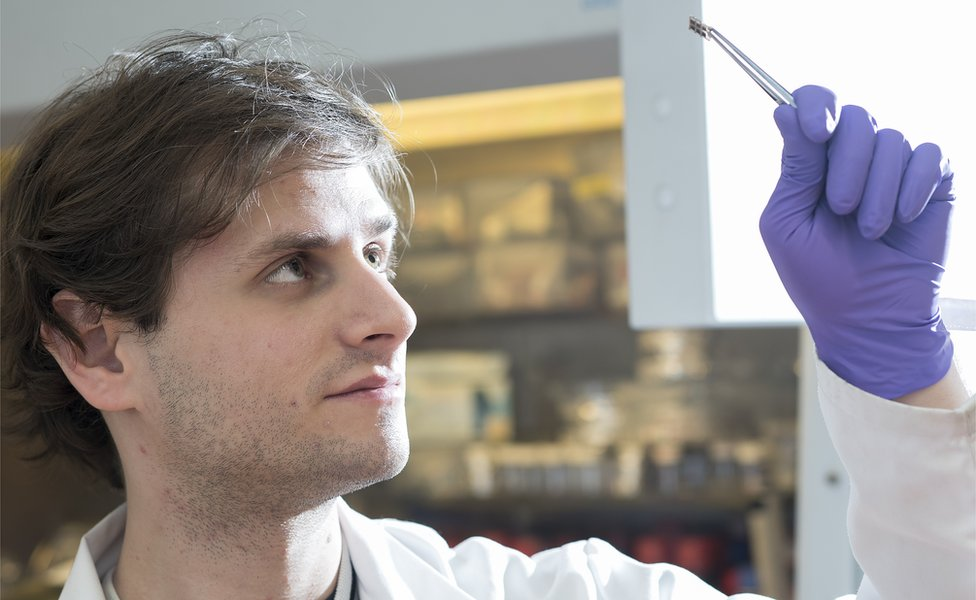 PhD student Kenny Marshall holds up a piece of perovskite solar cell