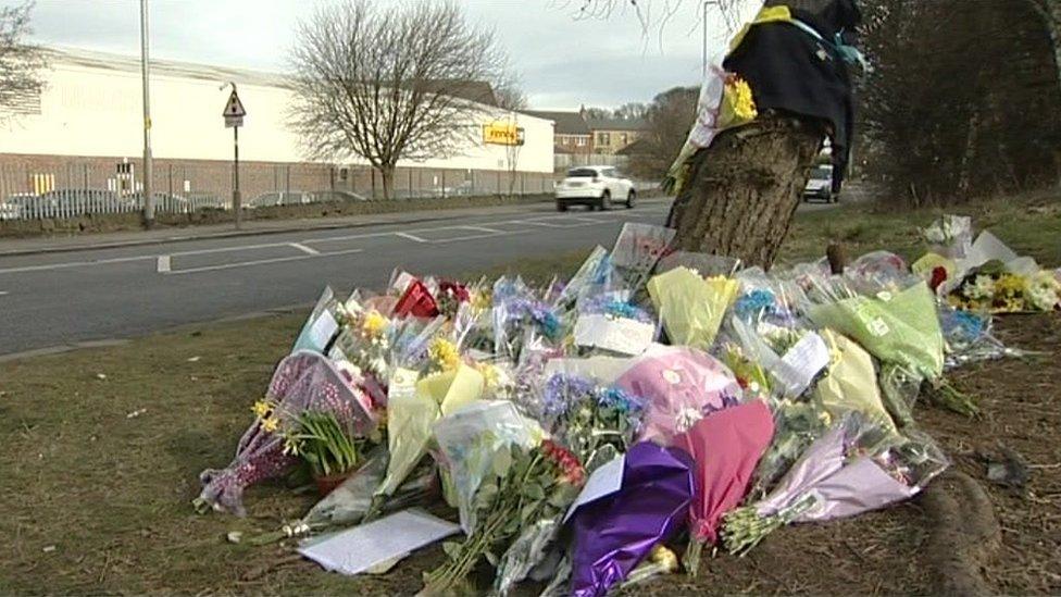 Flowers at scene of crash