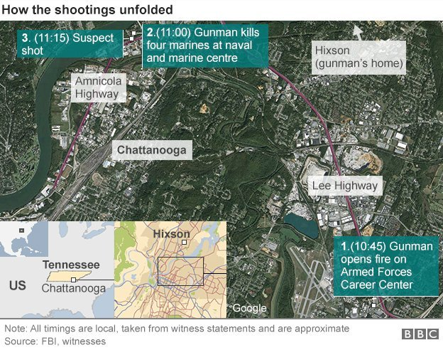 Map showing how shooting unfolded