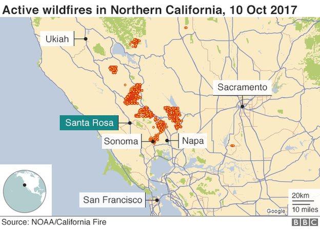 Peta titik api di kawasan California Utara pada 10 Oktober 2017.