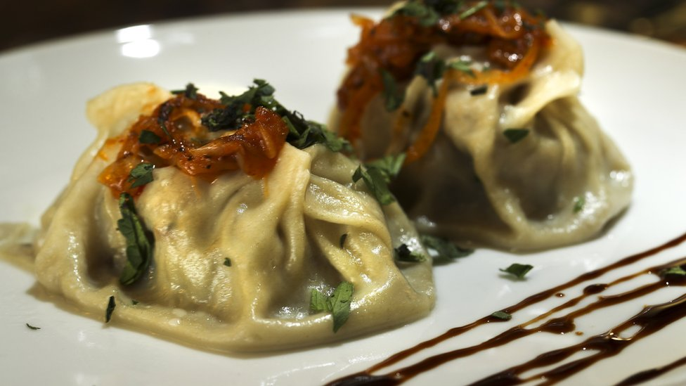 Close-up of a manti dish