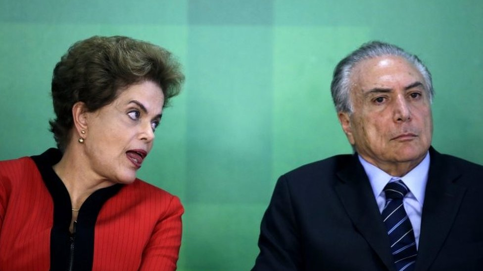 A file picture dated 02 March 2016 of Brazilian President Dilma Rousseff (L) and Brazilian Vice President Michel Temer (R) during a press conference on an agreement for the recovery of the Rio Doce river, at the Planalto Palace in Brasilia, Brazil
