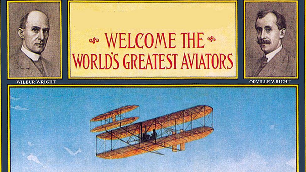 Cartel de la época dándole la bienvenida a los hermanos Wright