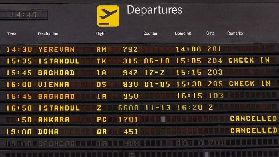Flight information board at departure lounge at Irbil international airport (29 September 2017)