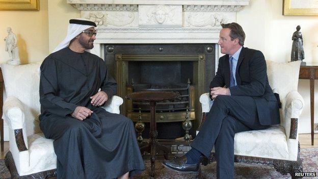 David Cameron and Mohammed bin Zayed Al Nahyan