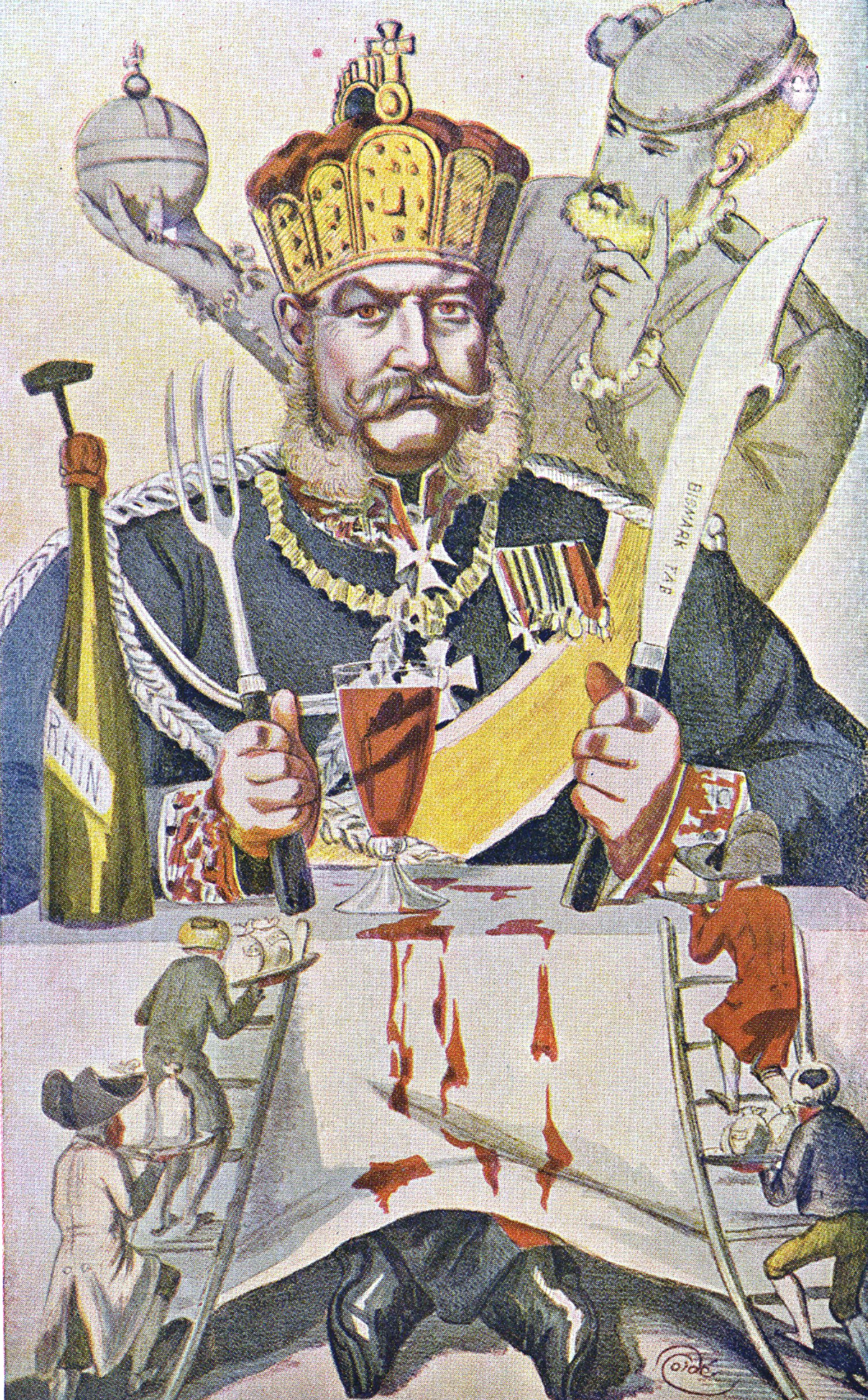 Caricatura de Bismarck comiendo conquistas