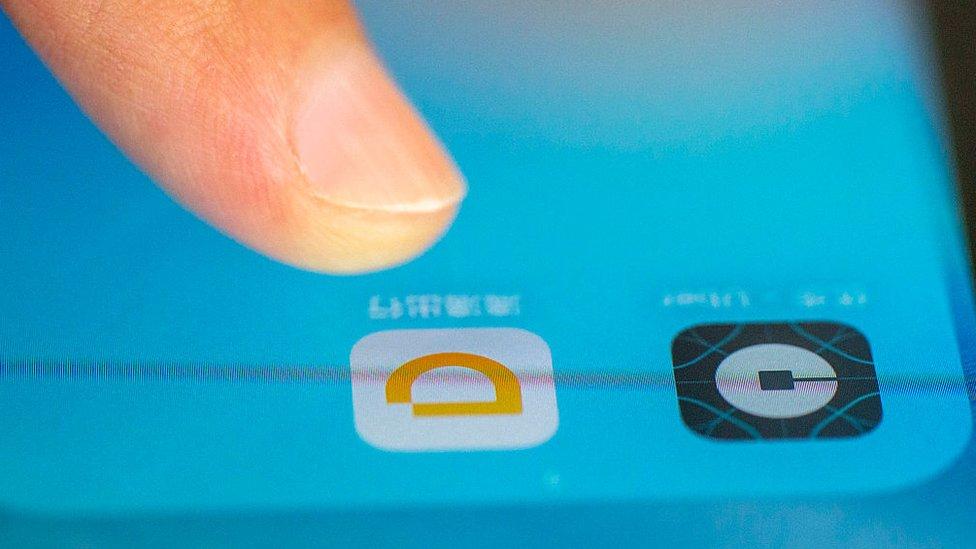 Aplicación Didi Chuxing en un teléfono móvil