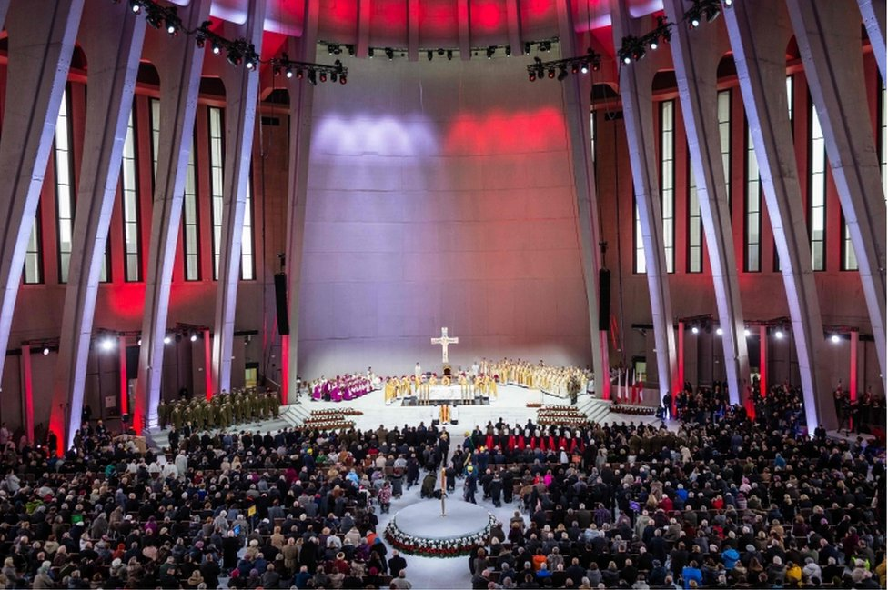 A picture of the inauguration Mass in the Temple of Divine Providence, in Warsaw, Poland, on November 11, 2016.