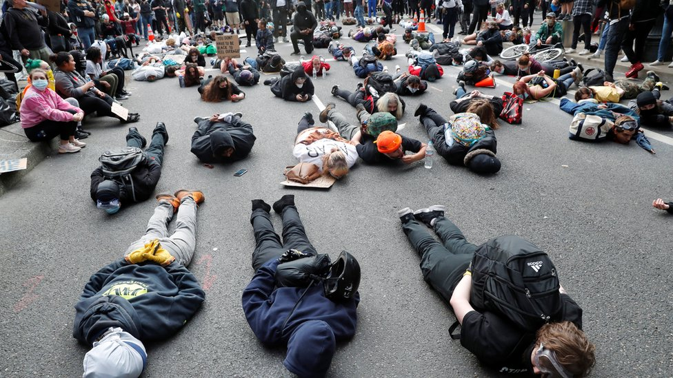 coronavirus stock Protesters lie on the streets in Portland, Oregon